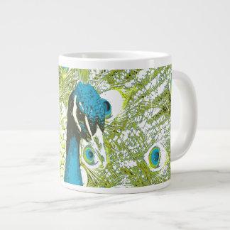 Pfau-Blau und Grün Jumbo-Mug