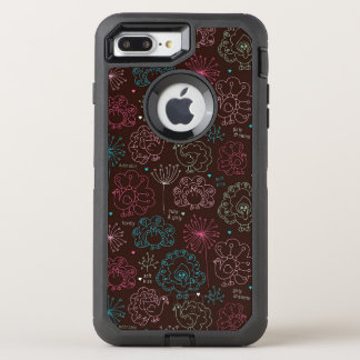Pfau-Blumen-Indien-Tapete Vintag OtterBox Defender iPhone 8 Plus/7 Plus Hülle