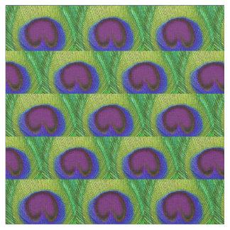 Pfau-Feder-Gewebe - grüne lila Blaupause Stoff