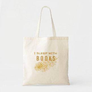 Pfau-Feder mit Herzen schlafe ich mit Büchern Tragetasche