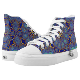 Pfau-geometrische hohe Spitzenturnschuhe Hoch-geschnittene Sneaker