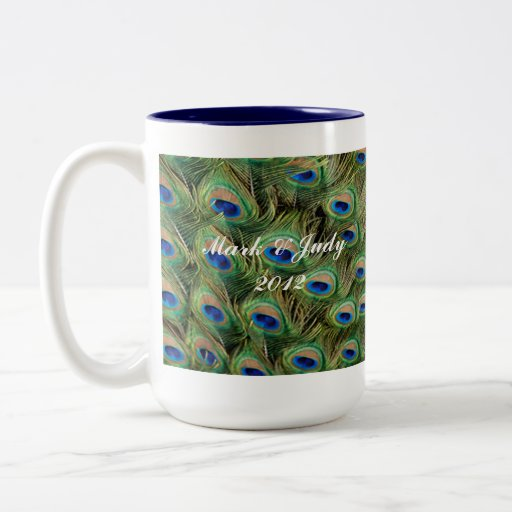 Pfau-Hochzeits-Tasse