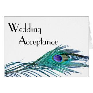 Pfau-Hochzeits-Wartekarte Mitteilungskarte