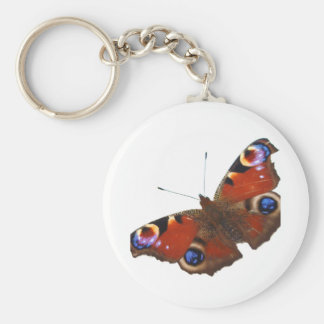 Pfau-Schmetterlingsentwurf Standard Runder Schlüsselanhänger