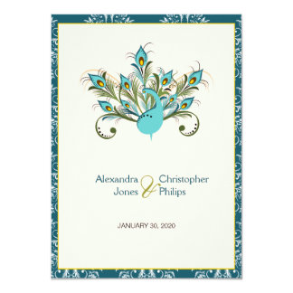 Pfau versieht Damast-Hochzeit mit Federn Karte