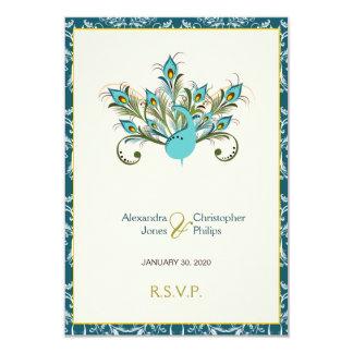 Pfau versieht Damast-Hochzeit UAWG mit Federn Karte