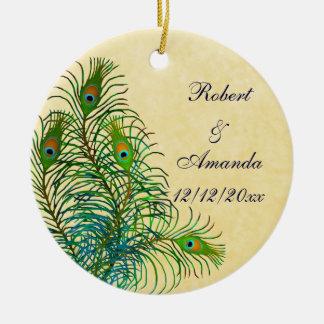 Pfau versieht kundengerechte Hochzeits-Verzierung Keramik Ornament