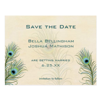 Pfau versieht Save the Date Wedding Position mit Postkarte