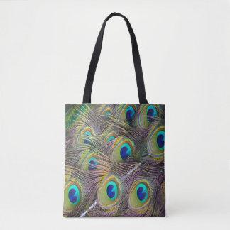 Pfau versieht schöne Tascheneinkaufstasche mit Tasche
