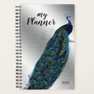 Pfau-Vogel-Silber-Buchstabe-Tagesplaner Planer