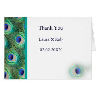 Pfauhochzeit danken Ihnen Grußkarte