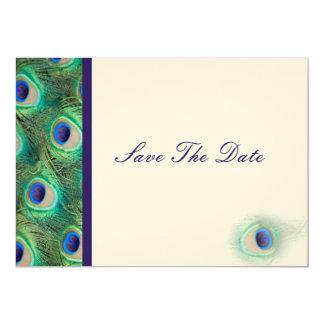 Pfaukobaltblau aquamarin Save the Date 12,7 X 17,8 Cm Einladungskarte