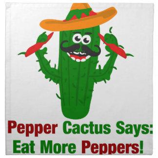 Pfeffer-Kaktus sagt essen mehr Paprikaschoten Stoffserviette