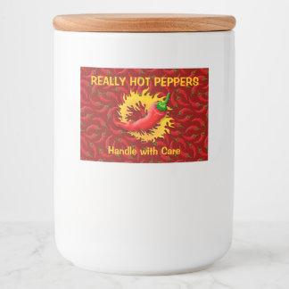 Pfeffer mit Flamme Lebensmitteletikett