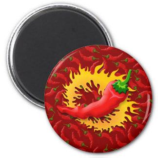 Pfeffer mit Flamme Runder Magnet 5,1 Cm