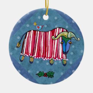 Pfefferminz-Ochsen-Weihnachtsbaum-Verzierung Keramik Ornament