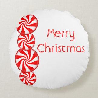 Pfefferminz-Süßigkeits-frohe Weihnachten Rundes Kissen