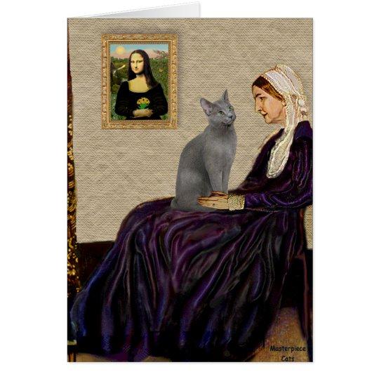Pfeifer-Mutter - russische blaue Katze Grußkarte