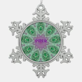 PFEIFER ~ personalisiertes leuchtendes Schneeflocken Zinn-Ornament