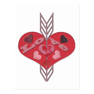 Pfeil durch Liebe-Herzen Postkarte