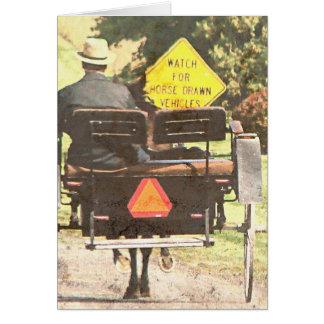 Pferd gezeichnete Fahrzeuge, amisches Pferd und Karte