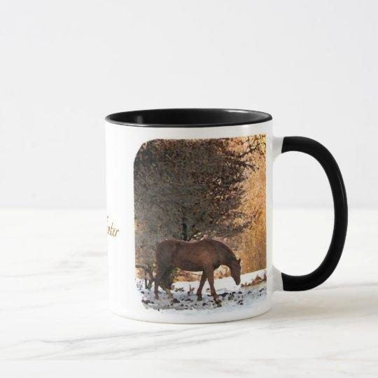 Pferd im Winter Tasse