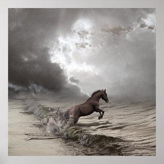 Pferd in den Wellen, Papier zu postieren (matt) Poster