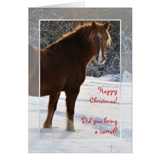 Pferd in der Schnee Weihnachtskarte Grußkarte