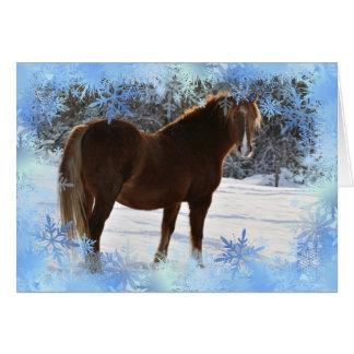 Pferd in der Schnee Weihnachtskarte Karte