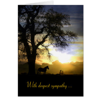 Pferd in der Sonnenuntergang-Beileids-Karte Karte