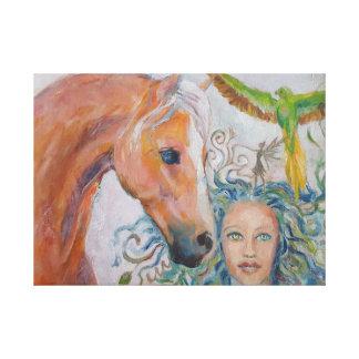 Pferd mit Frau, Fee und Papageien auf Leinwand