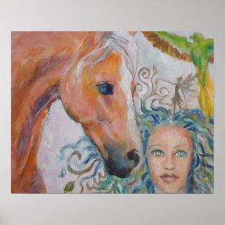 Pferd mit Frau, Fee und Papageien auf Leinwand Poster