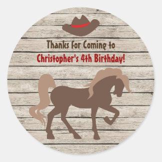 Pferd und Cowboyhut - Scheunen-hölzerner Runder Aufkleber