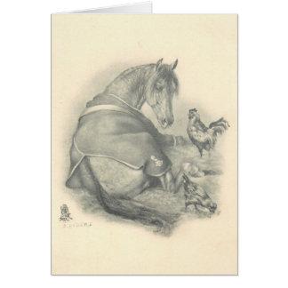 Pferd und Hühner, Weihnachten Karte