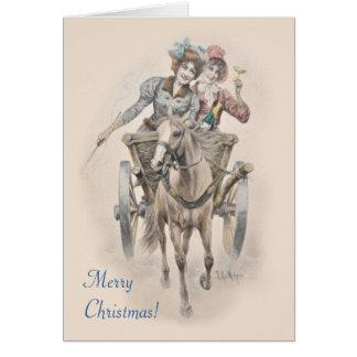 Pferd, Wagen und Mädchen Weihnachten Karte