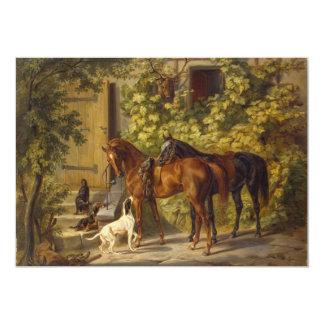 Pferde am Portal 12,7 X 17,8 Cm Einladungskarte