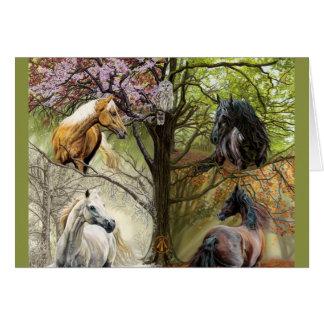 Pferde der vier Jahreszeit-Feiertags-Gruß-Karte Grußkarte