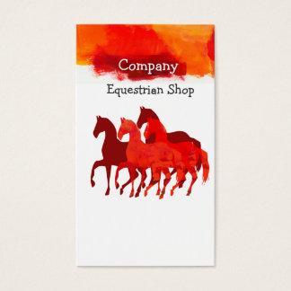 Pferde, die zu Pferde Aquarell-künstlerische Farbe Visitenkarte