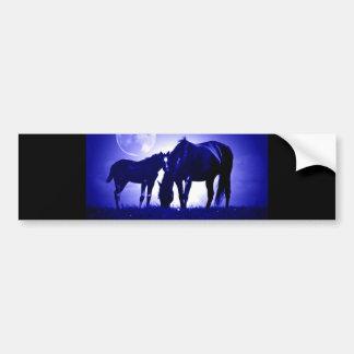 Pferde in der blauen Nacht Autoaufkleber
