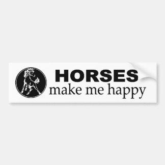 Pferde machen mich glücklich. Abziehbild für Autoaufkleber