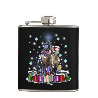 Pferde mit Weihnachtsarten Flachmann