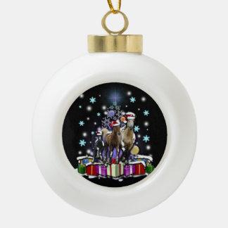 Pferde mit Weihnachtsarten Keramik Kugel-Ornament