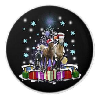 Pferde mit Weihnachtsarten Keramikknauf