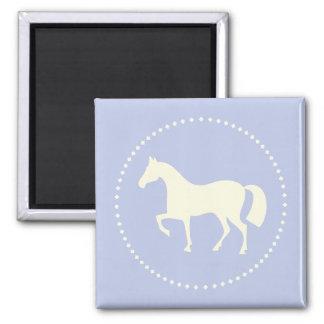 Pferde-/Pony-Silhouettequadratmagnet (Babyblau) Quadratischer Magnet