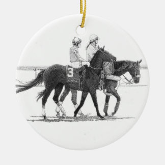 Pferde-u. Jockey-Verzierung Rundes Keramik Ornament