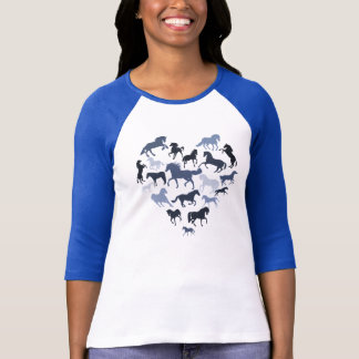 Pferde-und Herz-T-Shirtblau T-Shirt