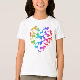 Pferde-und Herz-T-Shirtregenbogen T-Shirt