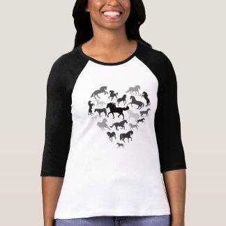 Pferde-und Herz-T-Shirtschwarzbraun T-Shirt