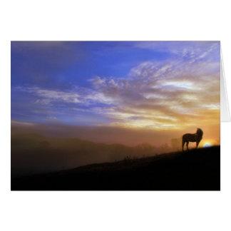 Pferde-und Sonnenuntergang-Beileids-Karte Grußkarte