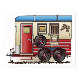 Pferdeanhänger-Camper Postkarte